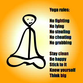 Person sitting for meditation next to a list of rules for life.